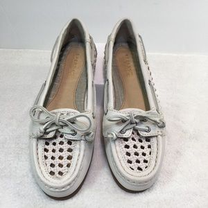Sperry White Leather Cane Pattern  Boat Shoes
